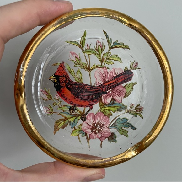 Vintage Gold Rimmed Cardinal Glass Ring Dish